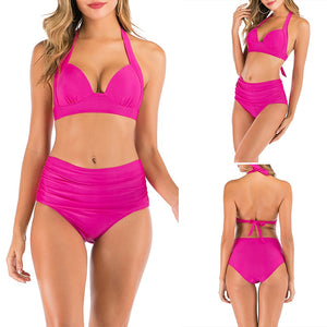 Thong Bikini Set Swimwear Pure Color Push Up Padded Swimsuit Bathing Suit Summer Beachwear - SolBikini
