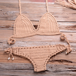 Solid crochet bikini top 2020 summer shell sexy swimsuit handmade swimsuit suit boho beach wear mesh short thong bottom - SolBikini