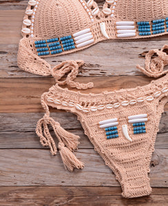 Sexy blue shell beaded bikini set handmade crochet swimsuit push up knitted swimwear beach wear - SolBikini