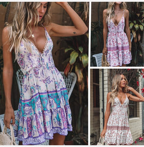 New 2020! Boho Inspired Backless Sexy Deep V-Neck Floral Print Ruched Mini Bow Summer Beach Casual Dress - SolBikini