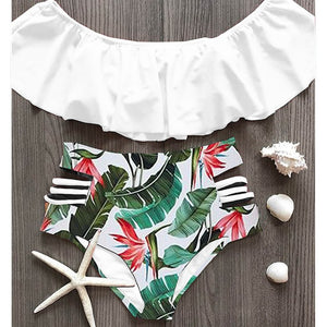 2020 Sexy bikini Set High Waist Swimwear Striped Ruffled Swim Bathing Suit White Blue Swimsuit Vintage Bikinis - SolBikini