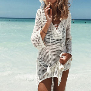 Swimming Suit 2020 Summer Mesh Hollow Out Crochet Bathing Dress Cover Ups Beach Dress Tunics Skirt - SolBikini