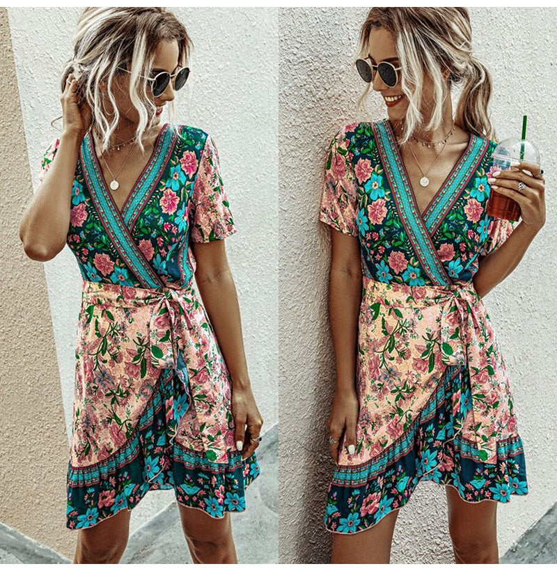 Boho Summer Ruffle Pink Mini Short Sundress Bow Lacing-up Fitted Casual Ladies Bohemian Flower Clothing Yellow 2020 - SolBikini
