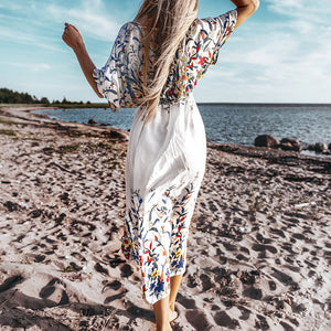 CUPSHE Wildflower Midi Bikini Cover Up Sexy Lace Up Long Dress Capes 2020 Summer Beach Bathing Suit Beachwear - SolBikini