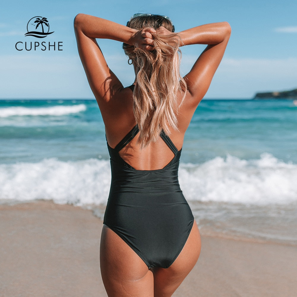 CUPSHE Black And White Gingham Ruched One-Piece Swimsuit Women Sexy Back Cross Monokini 2020 Girl Beach Bathing Suits - SolBikini