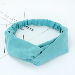 Summer Autumn Suede Headband Vintage Cross Knot Elastic Hair Bands Soft Solid Girls Hairband Hair Accessories - SolBikini