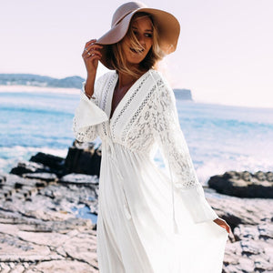 White beach dress cover lace up tunic wear sexy swimsuit cover-ups 2020 hollow lace crochet bathing suit beach dress - SolBikini