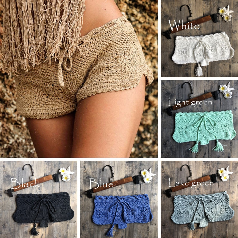 New Boho Mesh Crochet Beach Shorts sexy Bottoms Summer Beachwear - SolBikini
