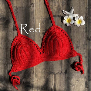 Solid swimsuit red crochet bikini top mesh sexy swimming bra - SolBikini