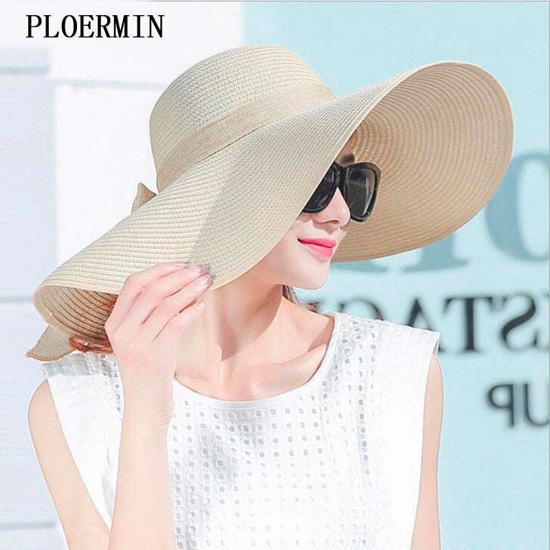 Elegant summer style large brimmed straw fashion sun hat uv protect big bow beach summer hat - SolBikini