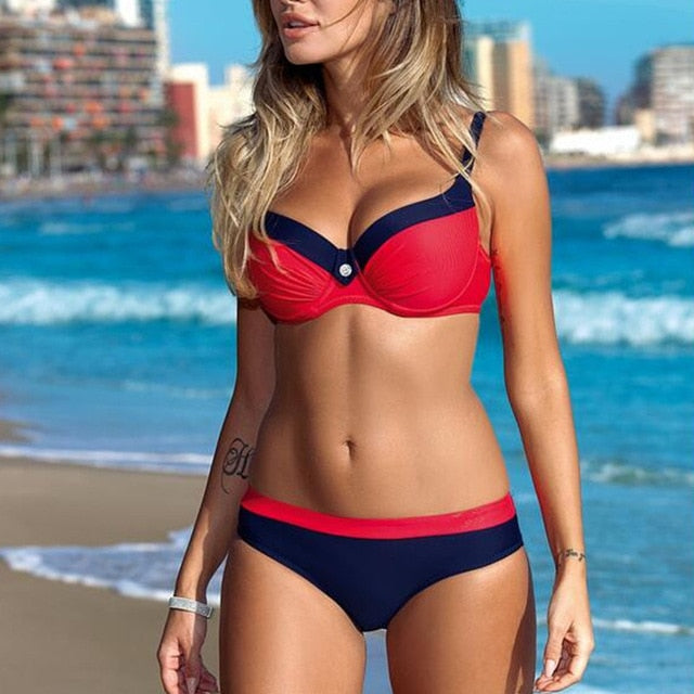 Bikini Push up Sexy Swimsuit Striped Patchwork  Plus Size Swimwear Bandage Bathing suit - SolBikini