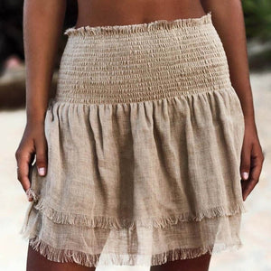 Fashion Loose Skirt Wrap Sarong Beach Summer Wear Solid Short Bikini Cover Up Casual Skirt - SolBikini