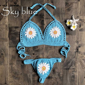 2020 new swimwear bikini set knit swimsuit crochet Bohemia style off the shoulder handmade bathing sexy bikini - SolBikini