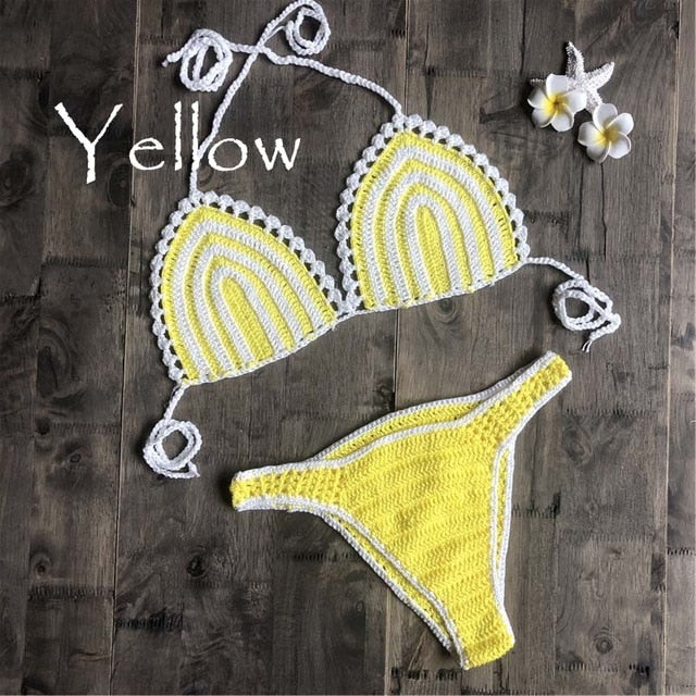 2019 new striped swimsuit high waist micro bikini set crochet trim bikini sets two pieces bathing sexy swimsuits - SolBikini