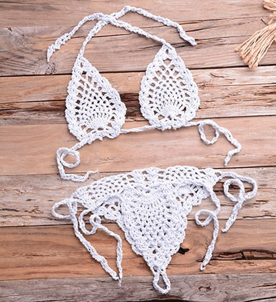 Sexy bikinis push up bikini swimsuit solid crochet swimsuit summer beachwear swimming suit - SolBikini