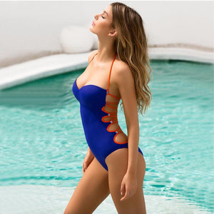 Sexy One Piece Swimsuit 2020 Monokini Cross Bandage Backless Swimwear Push Up Brazilian Swim Bathing Suit - SolBikini