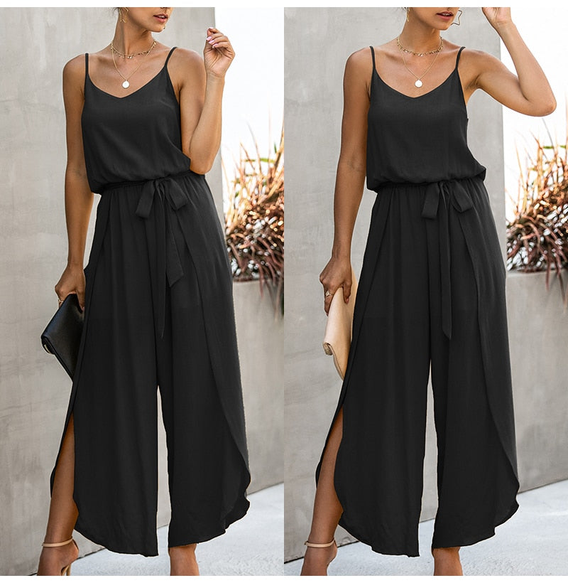 Wide leg break through pants black jumpsuit sexy backless summer suits side split hem pink one piece 2020 - SolBikini