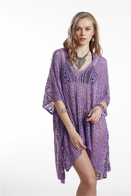 2020 new summer beach wear cover up bikini lace floral long maxi beach dress - SolBikini