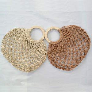 Hollow out rattan bags 2020 handmade wooden handle net bag handbags woven rope straw bag casual mesh totes summer beach bag - SolBikini