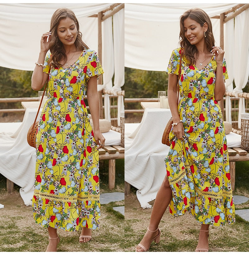 Midi Summer Casual Flower Print Side Slit Red Long Sundresses Ladies Yellow Fitted Clothing Everyday 2020 Fashion - SolBikini