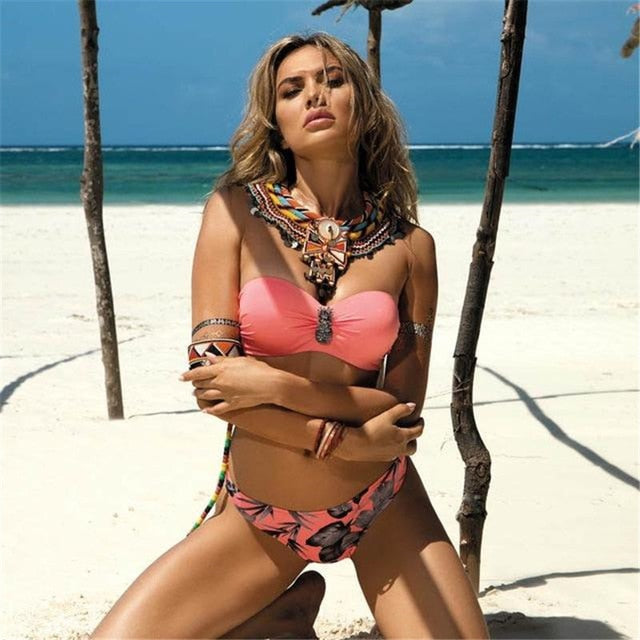 Plus Size Sexy Bikini 2020 Push Up Bikini Set Pink Swimwear Micro Swimsuit Bandage Beach Party Two-Piece - SolBikini