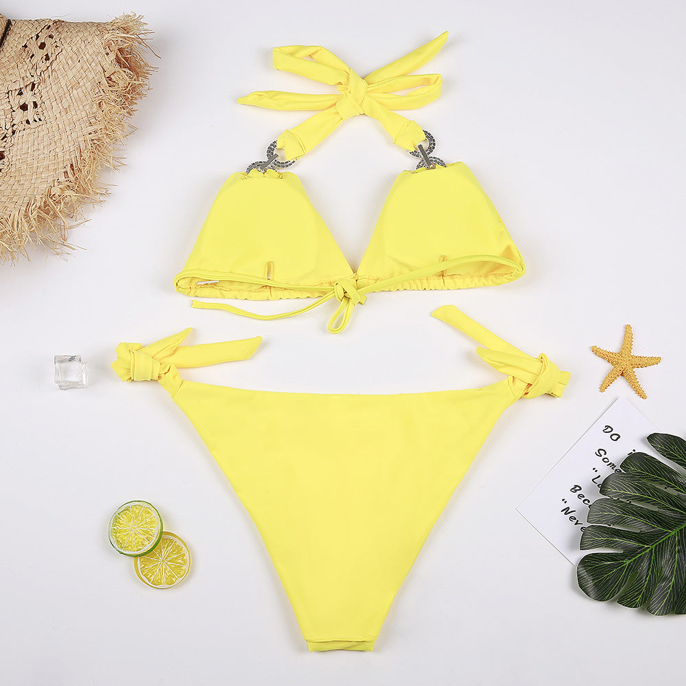 2020 new diamond bikini halter swimsuit bandage bath separate beach bikini set low waist - SolBikini