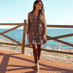 Summer boho floral print lantern female long sleeve pleated dresses v-neck beach mini dress - SolBikini