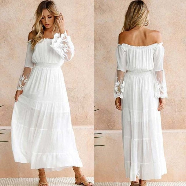 Summer New 2020! White Beach Chiffon Maxi Boho Lace Dress - SolBikini