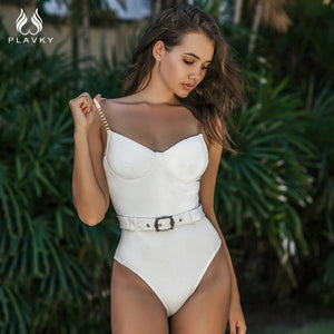 Sexy Solid Push Up Velvet High Belted Swimsuit Ladies 2020 Monokini One Piece Swimwear Swim Bathing Suit - SolBikini