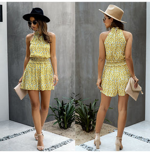 Jumpsuit pants wide leg shorts ladies summer floral halter tops one piece 2020 - SolBikini