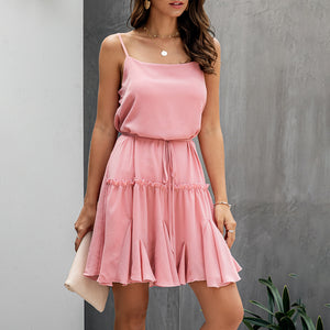 Summer Pink Casual Ruffle Slip Sundress Sexy Strapless Backless Black Fitted Mini Short Clothes Spaghetti Strap 2020 - SolBikini