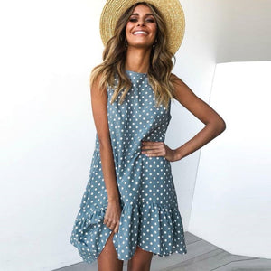 Summer Dress Polka Dot Chiffon Sleeveless Beach Mini Casual Yellow Sundress 2020 Fashion Plus Size Dress - SolBikini