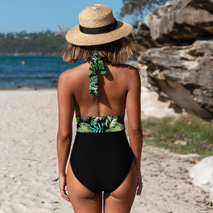2020 Sexy One Piece Swimsuits Shoulder Floral Swimwear Push Up Bathing Suits Bodysuits Beach wear Ruffle Monokini - SolBikini