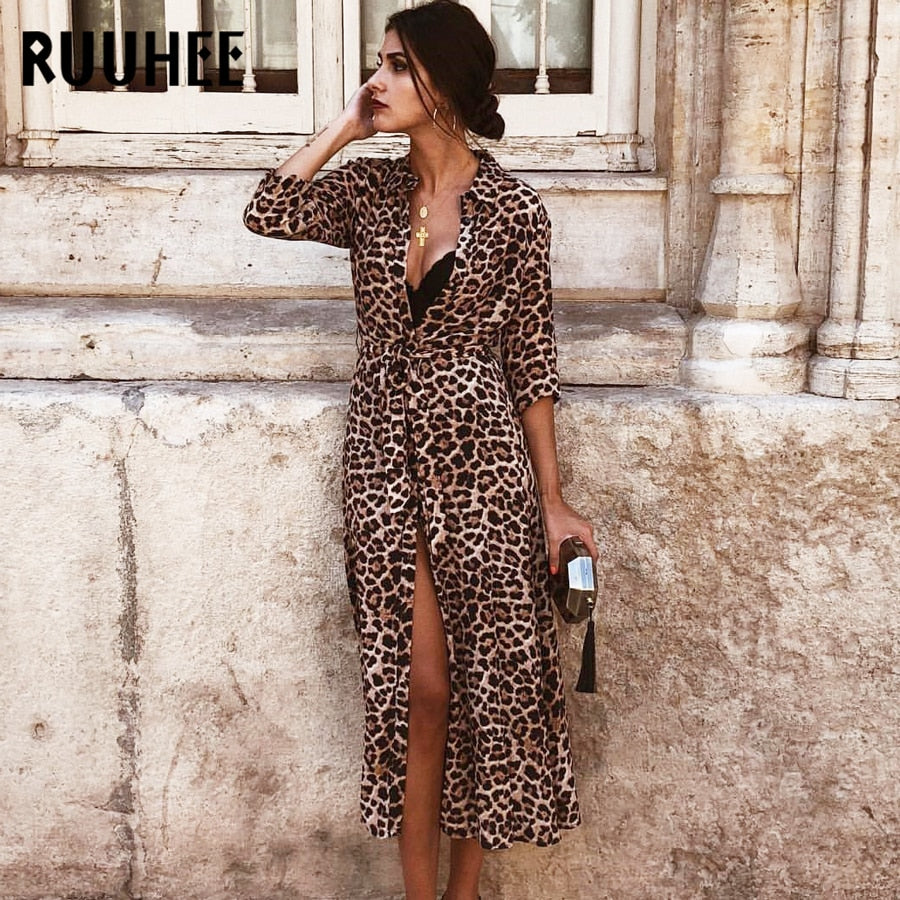 Cover-Up Leopard Snake Bikini Cover Up Swimsuit Long Beach Dress - SolBikini