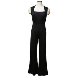Summer Long Jumpsuits High Waist Square Collar Sleeveless Trousers Pants Romper Jumpsuit Official Lady Slim Jumpsuit - SolBikini