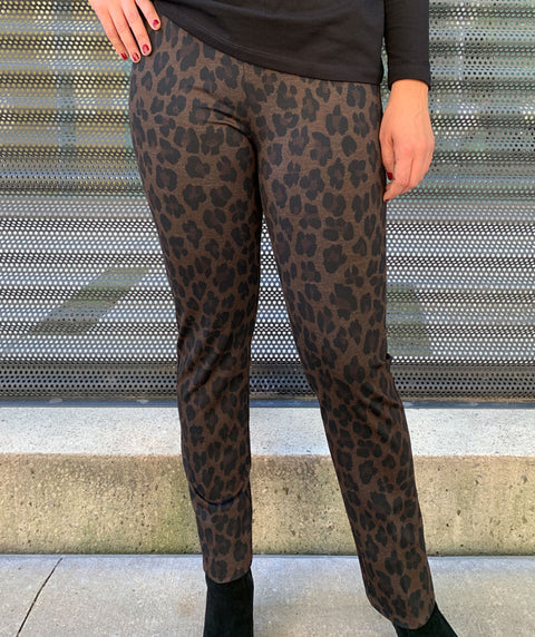 Leopard pull on pant Brown & Black