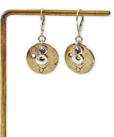 Mixed metal coin earring