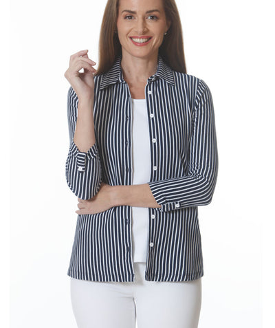 Stripe 3/4 sleeve knit button up Navy/White