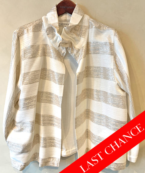 Sparkle and stripe open jacket gold size XL