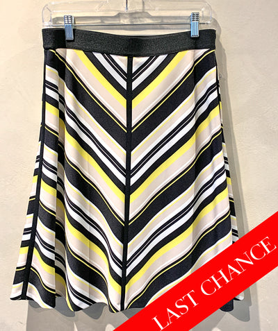 Bias stripe skirt yellow/black size 8