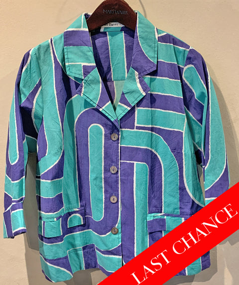 Cotton 4 button shirt/jacket blue and aqua size XS