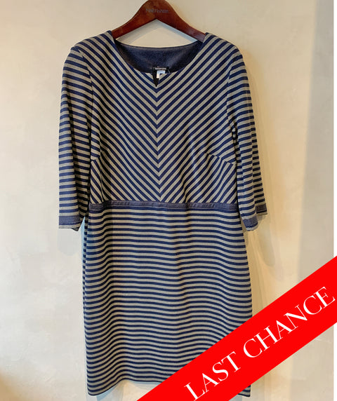 Shimmer stripe dress navy/taupe size 12