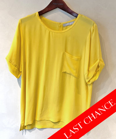 Short sleeve silk tee yellow size L