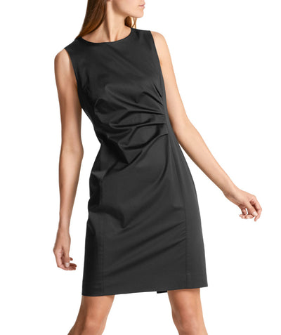 Essential polished cotton dress Black