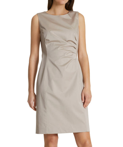 Essential polished cotton dress in Sand
