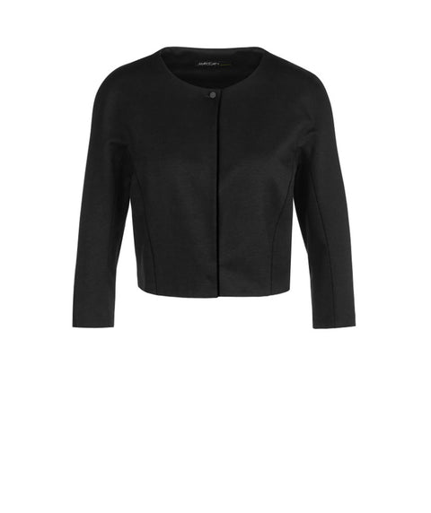 Short crepe knit one button jacket Black