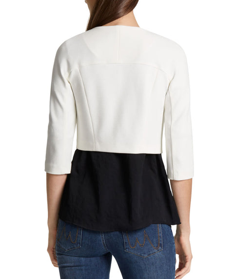 Short crepe knit one button jacket White