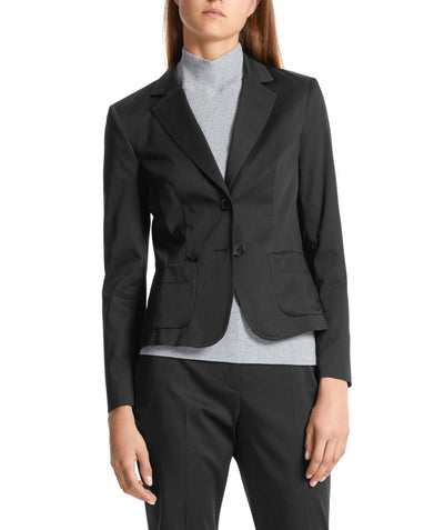 Essential polished cotton blazer Black