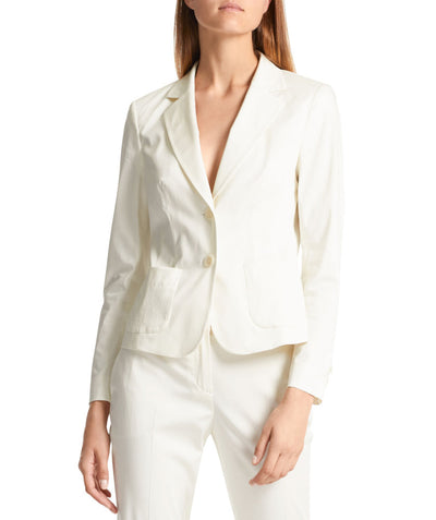Essential polished cotton blazer White