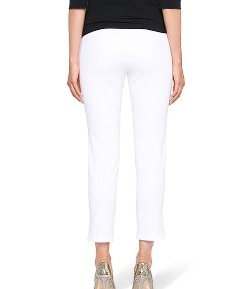 1 button cotton twill ankle pant White